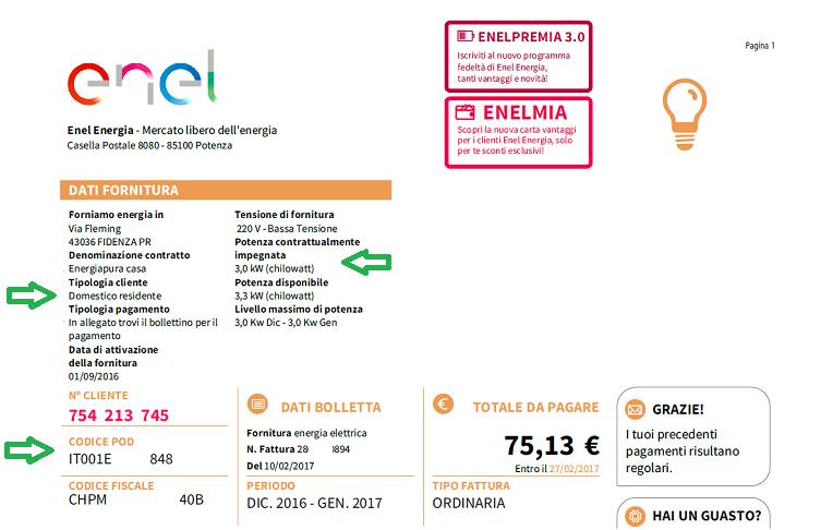 Come leggere la bolletta di enel energia mercato libero for Enel gas bolletta